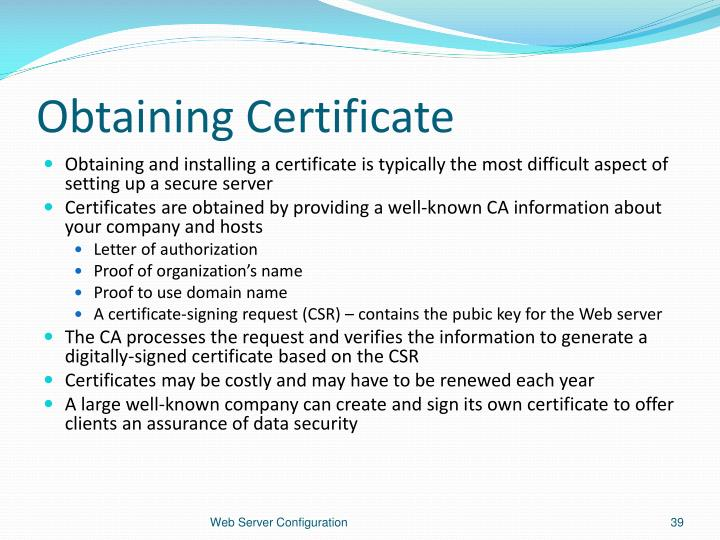 Obtaining Certificate