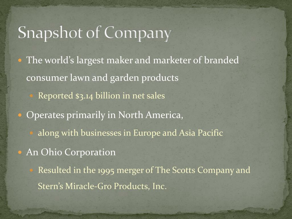 PPT - The Scotts Miracle- Gro Company PowerPoint