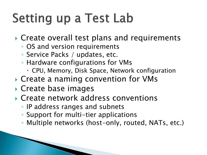 Setting up a Test Lab