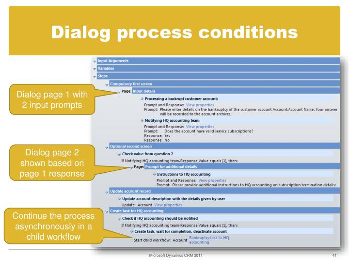 Dialog process conditions