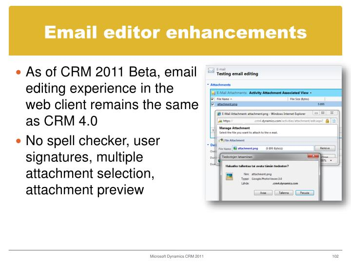 Email editor enhancements