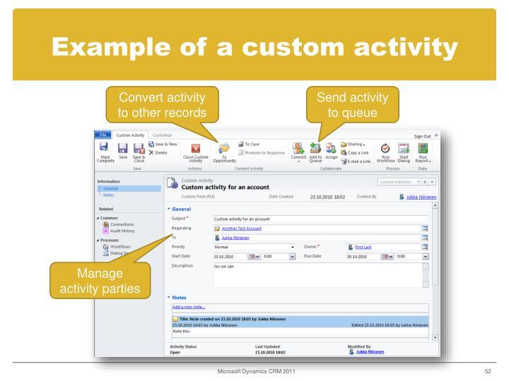 Example of a custom activity