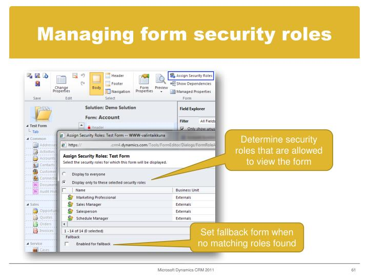 Managing form security roles