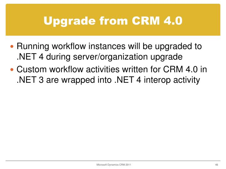 Upgrade from CRM 4.0