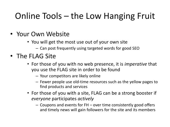 Online Tools – the Low Hanging Fruit