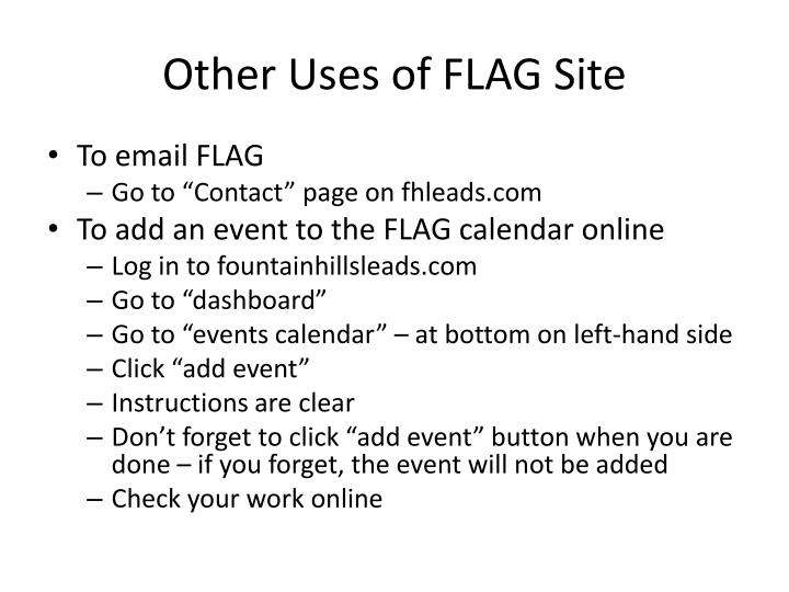Other Uses of FLAG Site