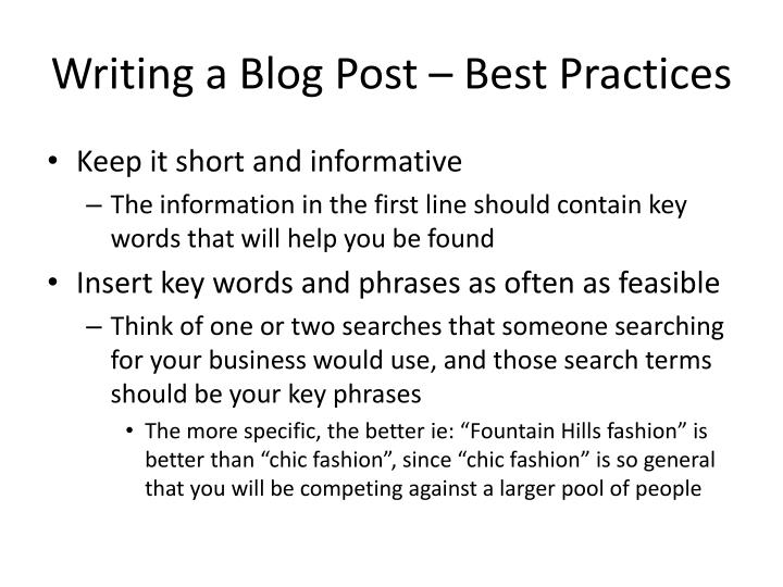 Writing a Blog Post – Best Practices