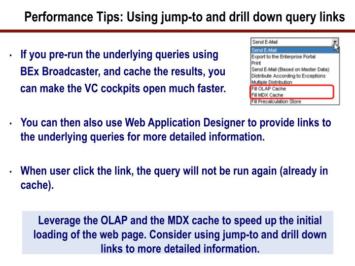 Performance Tips: Using jump-to and drill down query links