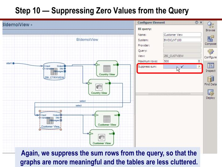 Step 10 — Suppressing Zero Values from the Query