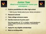 junior year what to do to prepare for senior year and beyond