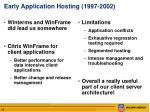 early application hosting 1997 2002