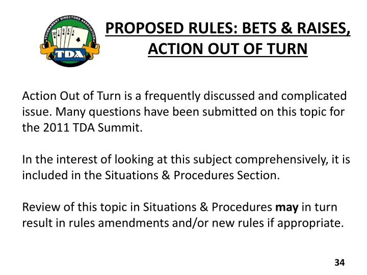 PROPOSED RULES: BETS & RAISES,