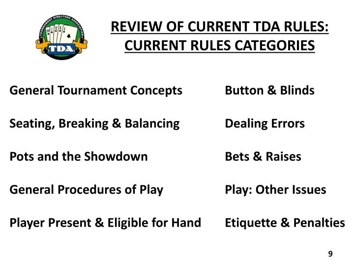 REVIEW OF CURRENT TDA RULES: