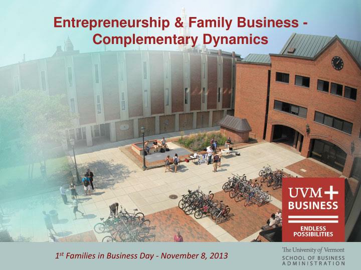 entrepreneurship family business complementary dynamics n.