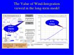 the value of wind integration viewed in the long term model