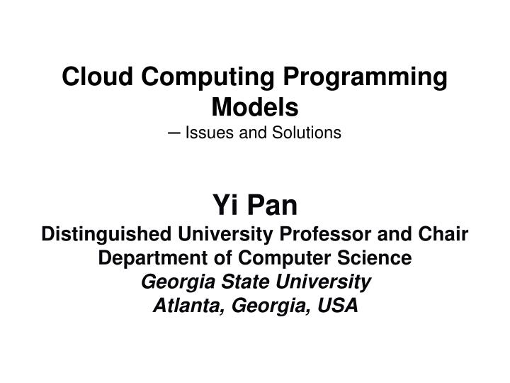 cloud computing programming models issues and solutions n.