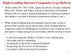 eight leading internet companies urge reform