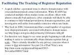 facilitating the tracking of registrar reputation