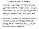speaking of ipv6 and security