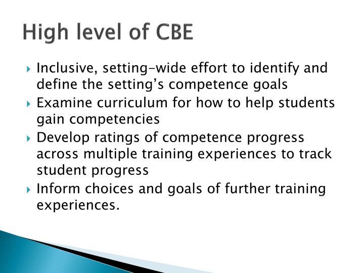 High level of CBE