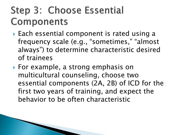 Step 3:  Choose Essential Components