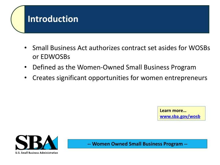 Small Business Act authorizes contract set asides for WOSBs or EDWOSBs