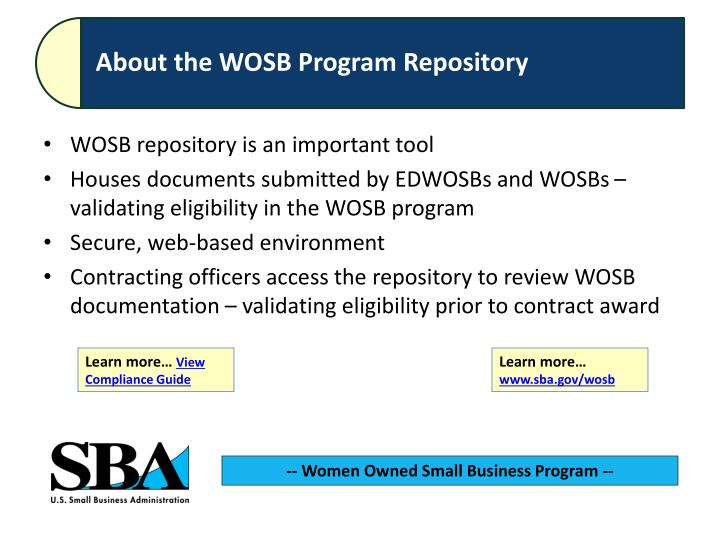 WOSB repository is an important tool