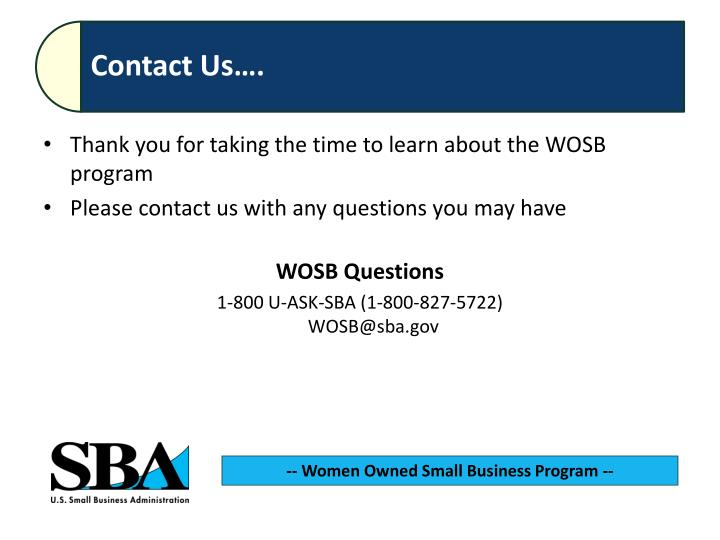 Thank you for taking the time to learn about the WOSB program