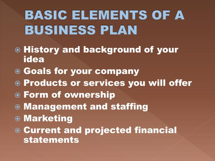 BASIC ELEMENTS OF A BUSINESS PLAN