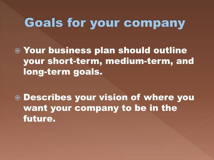Goals for your company