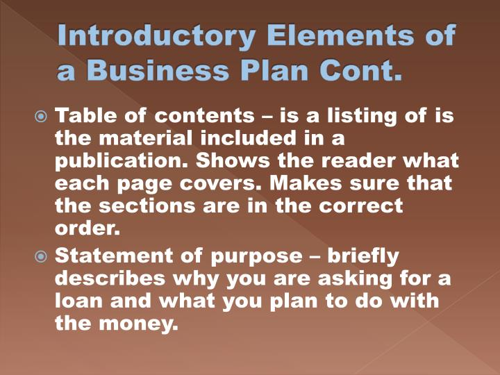 Introductory Elements of a Business