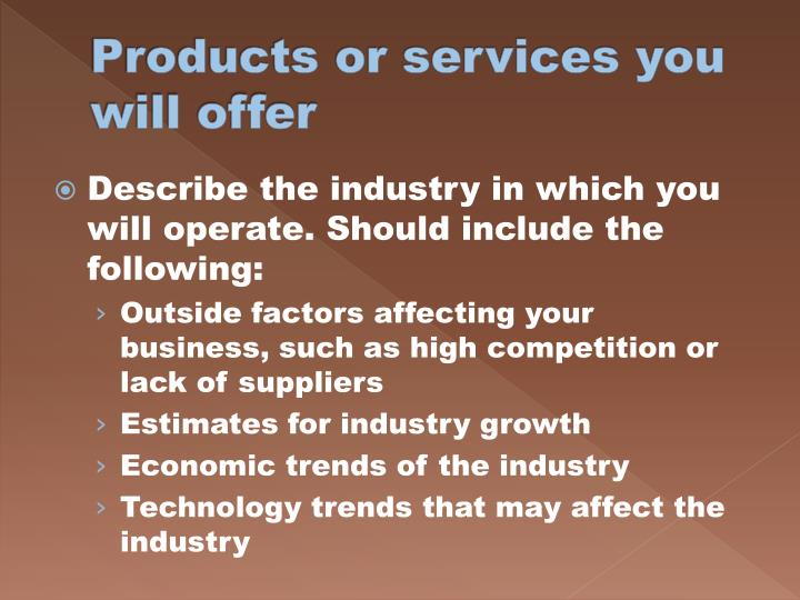 Products or services you will offer