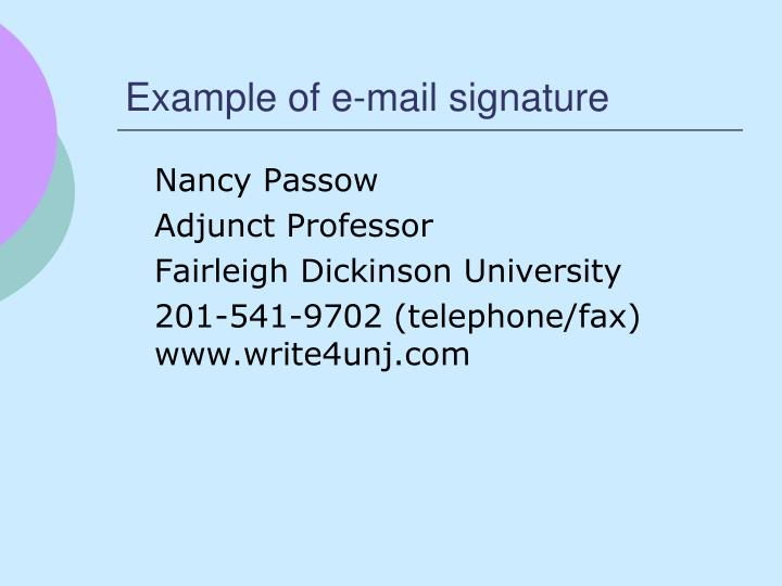 Example of e-mail signature