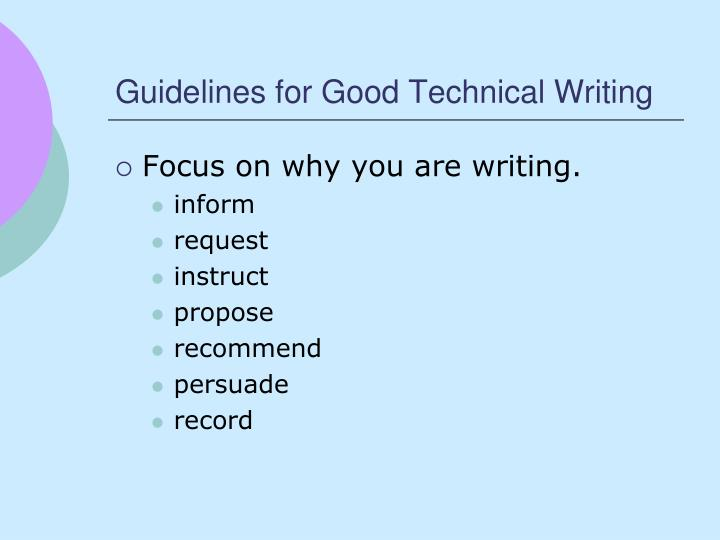 Guidelines for Good Technical Writing