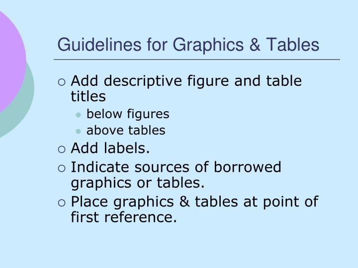 Guidelines for Graphics & Tables