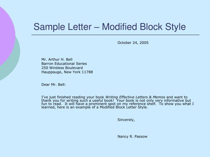 Sample Letter – Modified Block Style