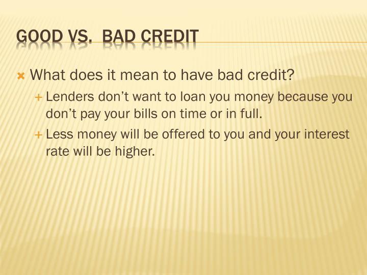 Good vs bad credit1