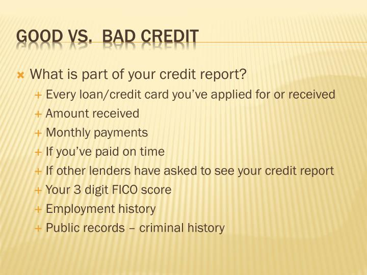 What is part of your credit report?