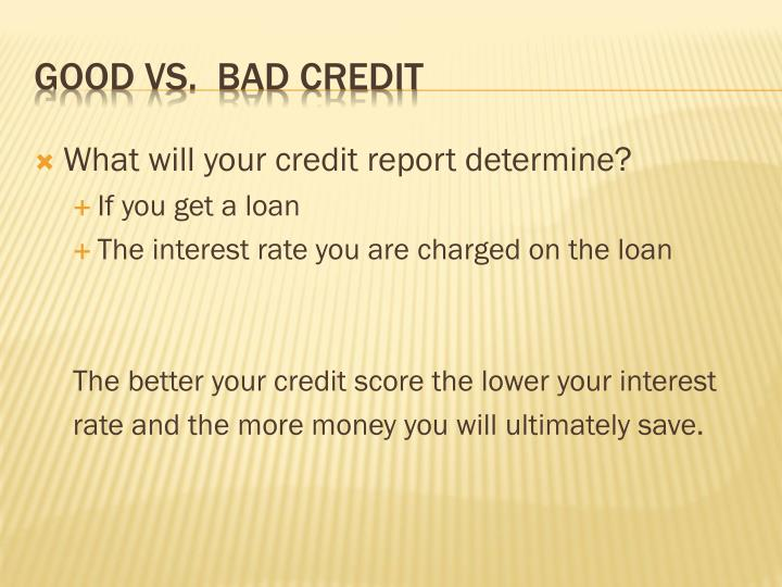 What will your credit report determine?