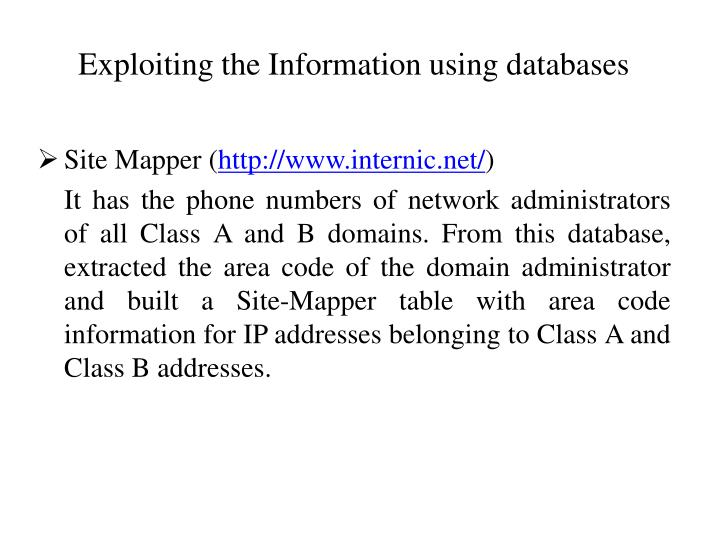 Exploiting the Information using databases
