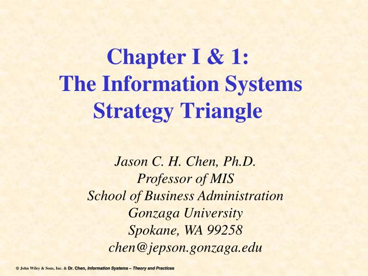 chapter i 1 the information systems strategy triangle n.