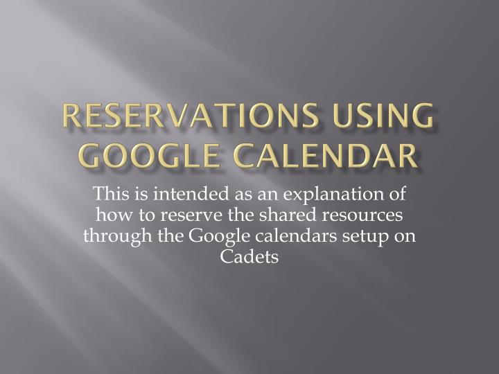 reservations using google calendar