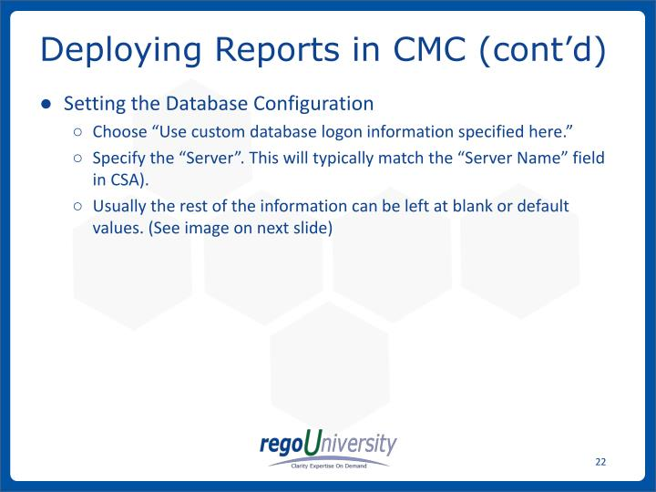Deploying Reports in CMC (cont'd)