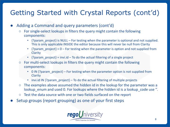 Getting Started with Crystal Reports (cont'd)