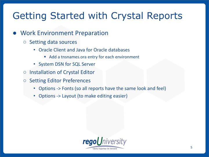 Getting Started with Crystal Reports