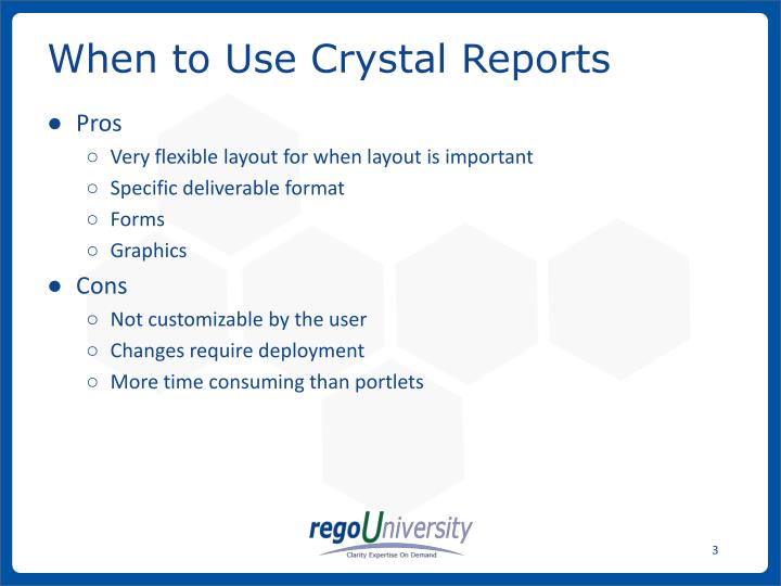 When to use crystal reports