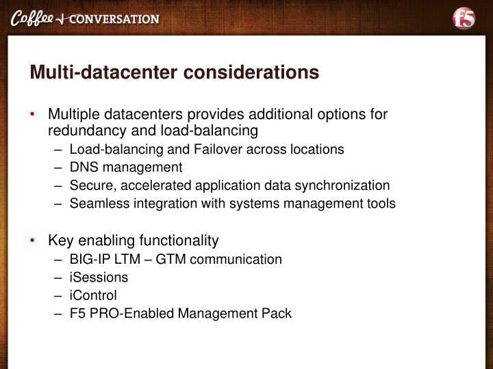 Multi-datacenter considerations