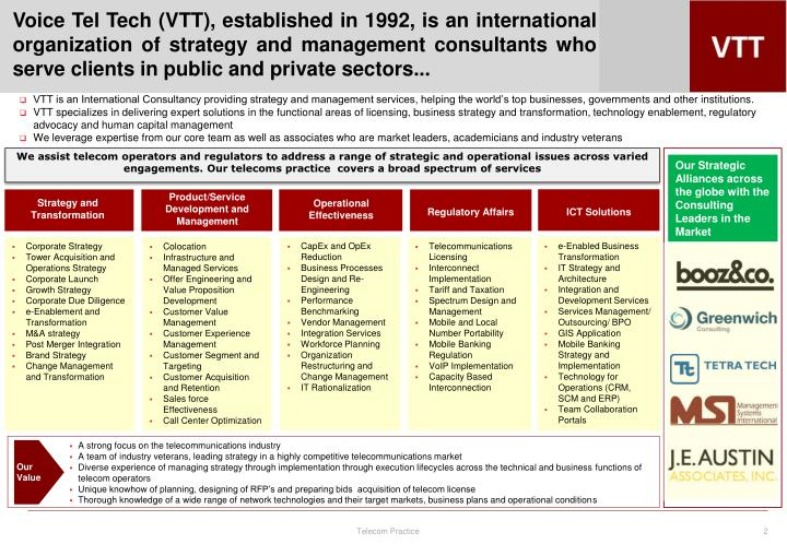 Voice Tel Tech (VTT), established in 1992, is an international organization of strategy and manageme...