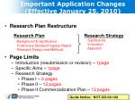 important application changes effective january 25 2010