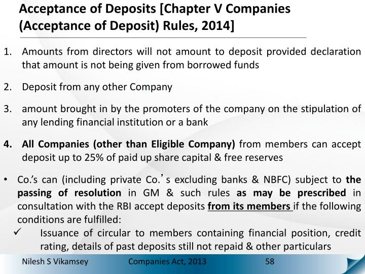 Acceptance of Deposits [Chapter V Companies